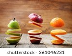 Flying slices of fruit  apple ...