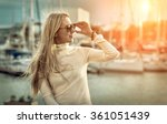 woman portrait on the yacht... | Shutterstock . vector #361051439