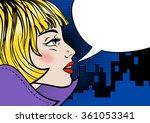 beautiful blonde in night city. ... | Shutterstock .eps vector #361053341