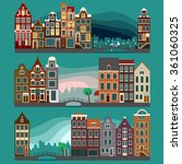 city streets  with old european ... | Shutterstock .eps vector #361060325