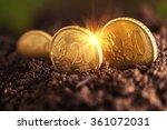 money growth. euro coins... | Shutterstock . vector #361072031