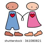 shy boy and girl in love... | Shutterstock .eps vector #361080821