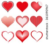 set of 9 symbol hearts various... | Shutterstock . vector #361090967