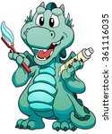cute mint baby dragon with... | Shutterstock .eps vector #361116035