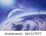 on the earth orbit. universe.... | Shutterstock . vector #361117577
