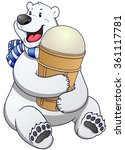 polar bear label with ice cream.... | Shutterstock .eps vector #361117781