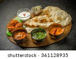 typical indian curry lunch | Shutterstock . vector #361128935