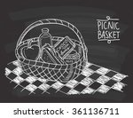 picnic basket in doodle style... | Shutterstock .eps vector #361136711