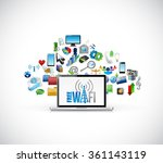 free wifi icons cloud computing ... | Shutterstock . vector #361143119