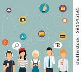 social network and teamwork... | Shutterstock .eps vector #361145165