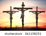 Small photo of Silhouette of Jesus with Cross over sunset concept for religion, worship, Christmas, Easter, thanksgiving prayer and praise. symbol resurrection redeemer cloud adoration mercy