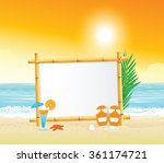 wooden signboard on tropical... | Shutterstock .eps vector #361174721