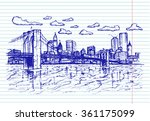 sketchy town on copybook... | Shutterstock .eps vector #361175099