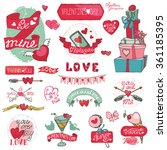 valentines day design labels... | Shutterstock .eps vector #361185395