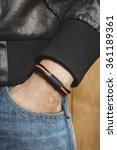 closeup leather bracelet on man'... | Shutterstock . vector #361189361