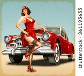 vintage background with pin up... | Shutterstock .eps vector #361195655