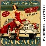 vintage garage retro poster | Shutterstock .eps vector #361195664