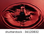 closeup of a water splash in red tones - stock photo