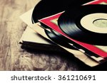 old vinyl record on the wooden... | Shutterstock . vector #361210691