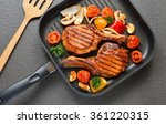grilled pork chops and... | Shutterstock . vector #361220315