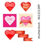 set of vector hearts valentine... | Shutterstock .eps vector #361221389