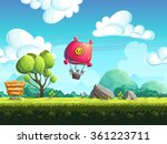 red blimp flying over a green... | Shutterstock . vector #361223711