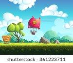red blimp flying over a green... | Shutterstock . vector #361223711