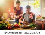 trendy couple cooking... | Shutterstock . vector #361225775