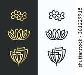 vector line flower symbols ... | Shutterstock .eps vector #361229915