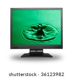 computer monitor with water splash wallpaper (photo inside is my property) - stock photo