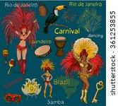 hand drawn brazilian carnival...   Shutterstock .eps vector #361253855