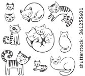cute hand drawn doodle cats... | Shutterstock .eps vector #361255601