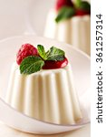 panna cotta with fresh berries. | Shutterstock . vector #361257314