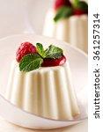 panna cotta with fresh berries. | Shutterstock . vector #361257314
