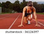 athletic woman in start... | Shutterstock . vector #36126397