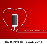 heart with phone  wire.... | Shutterstock .eps vector #361272071