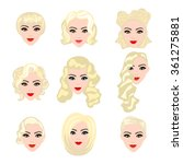 set of  blond hair styling... | Shutterstock . vector #361275881