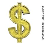 dollar sign from gold cast... | Shutterstock . vector #36128545
