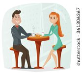 loving couple in a cafe. vector ... | Shutterstock .eps vector #361306367