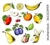 vector fruit set with apple ... | Shutterstock .eps vector #361323959