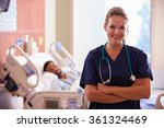 portrait of female nurse with...   Shutterstock . vector #361324469