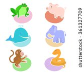 a set of drawings with cartoon... | Shutterstock .eps vector #361327709