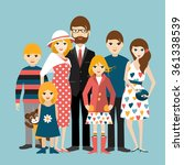 big family with many children.... | Shutterstock .eps vector #361338539