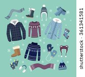 set of warm winter clothes... | Shutterstock .eps vector #361341581