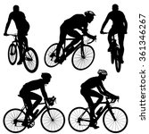 set silhouette of a cyclist... | Shutterstock . vector #361346267