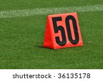 Fifty Yard Line Marker On The...