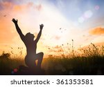 hope concept  silhouette humble ... | Shutterstock . vector #361353581