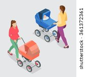 mother pushing a baby stroller... | Shutterstock .eps vector #361372361