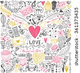 valentine's day sketch pattern. ... | Shutterstock .eps vector #361373435