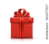 valentine red gift box with... | Shutterstock .eps vector #361377317